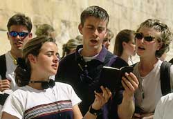 students singing at temple mount
