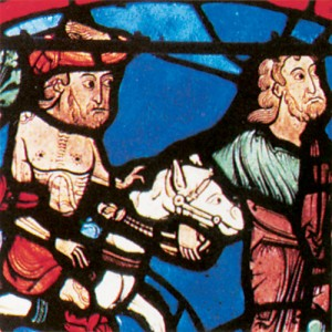 The good Samaritan, as depicted in cathedrals in Chartres, Bourges, and Sens, France, exemplifies the redemptive power of Jesus Christ. The good Samaritan windows in these cathedrals juxtapose scenes from the parable against scenes from the fall and redemptive of mankind, thus pointing to a once-popular allegorical interpretation of the story.