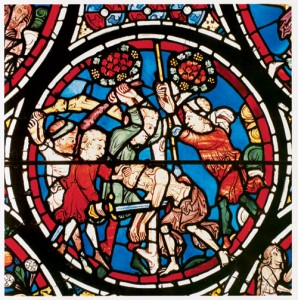 This scene from the Bourges window shows the traveler falling among robbers and appears in the context of scenes depicting the creation and fall of Adam.