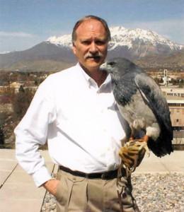 Clayton White and falcon