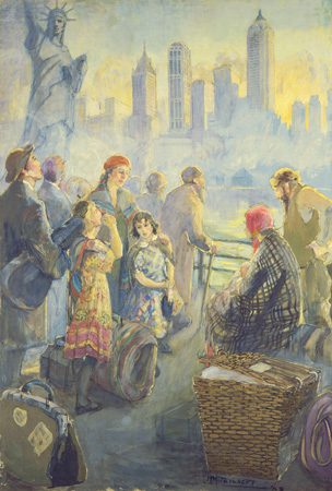 Immigrants to New York City (Jewish Refugees), 1938, Minerva Teichert (1888-1976)