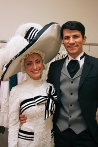 Aurora and Jeff Dickamore take a breather backstage while touring as cast members in My Fair Lady.
