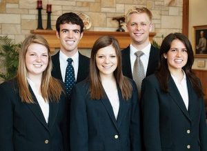 The Student Alumni leadership team for 2012–13 includes, from left, Ellie Ott, Jared Colton, Erika Nash, Andrew Bressler, Megan Hirschi, and Brielle Porter (not pictured).