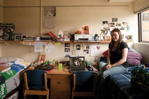 Ashley Falcon in her dorm room.
