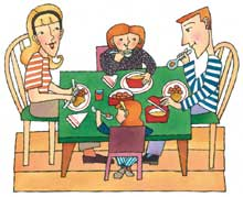 family at dinner table cartoon