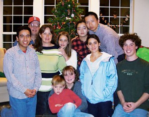 The Robert and Candace Madsen family hostted four international BYU students as part of the new Christmas Homestay Program.