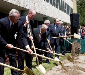 President Monson with shovels