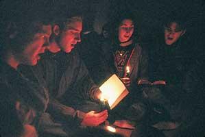 family in the dark