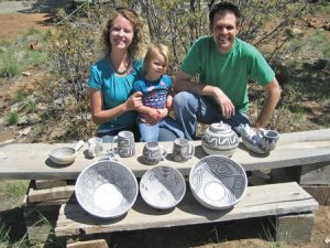Anderson, pictured here with his wife, Gina, and his daughter, spends up to 50 hours to create an Anasazi pottery replica.