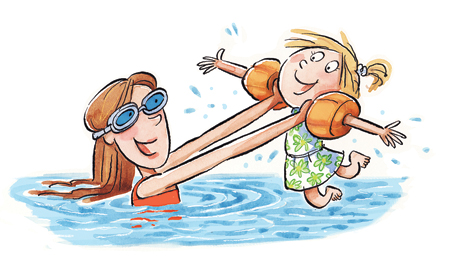 swimming and sisterhood clip art