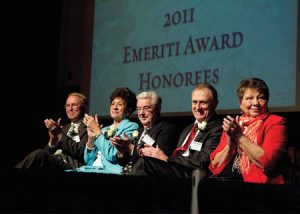 This year's Emeriti Award recipients are (from left) Alton L. Wade, Anna Lou Call Peterson, H. Von Packard, Stevens C. Nelson, and Peggy Newman Clark.