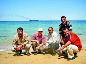Professor Jim Nelson and Engineers by the Red Sea.