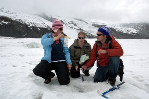 No doubt, the Gorner Glacier in Switzerland is shrinking, but Rachelle Hart, Summer Rupper, and Brandon Crandall are taking measurements to find out how fast. Bagging samples of snow and water, they hope to prove that their cheap and fast sampling technique is comparable to expensive ice core drilling.