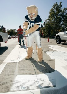 Cosmo lends a painting paw to Provo City workers, adding a white block Y at the intersection of University Avenue and Center Street. This and other Cougar Town efforts has encouraged community support beyond the borders of Provo proper.