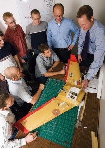 Professors Timothy McLain and engineering students