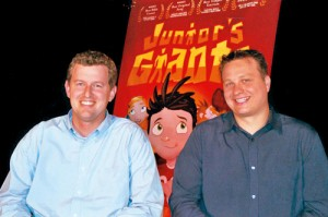 Building on their experience in a BYU comedy troupe, Randy Davis (left) and Mike Rasmussen (right) set out to create funny children's videos that teach values. The hero of their stories is Junior (top), a self-declared elementary school genius.