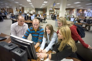 Students in the HBL Library