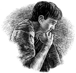 A young boy begging