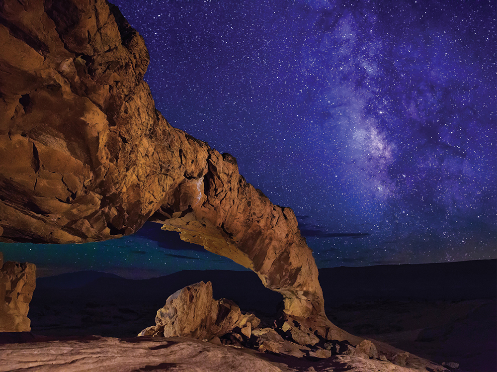 southern Utah arch, night sky