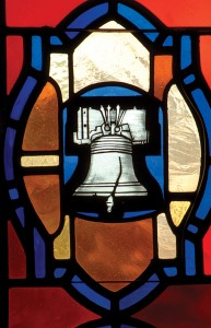 Liberty Bell on stained glass window
