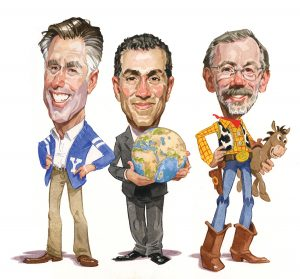 """A caricature illustration of Mitt Romney, Vali Nasr, and Ed Catmull. They have large heads and small bodies. Mitt Romney is wearing a BYU cardigan with a Y on it. Vali Nasr is holding the world in his hands. Ed Catmull is dressed like Woody from Toy Story and holding a toy """"Bullseye,"""" the horse from Toy Story."""