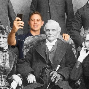 """A young man taking a """"selfie"""" photoshopped into an old photograph."""