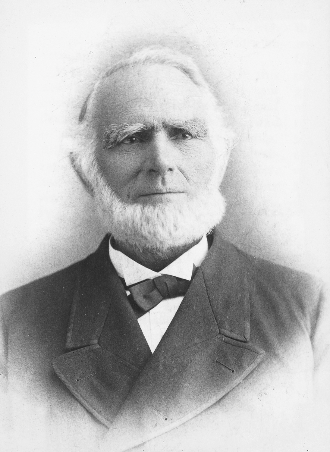 portrait of Abraham Smoot, early champion of Brigham Young Academy