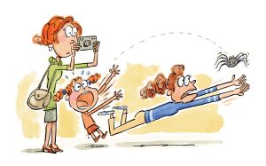 An illustration of a woman with a camera filming a spider flying through the air with a young girl screaming and an older girl diving to catch the spider.