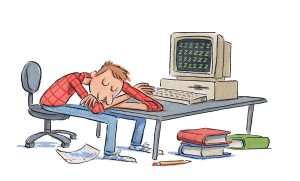 An illustration of a man asleep at his computer desk with his hand on the keyboard. The monitor displays numerous Z's. Books, a piece of paper, and a pencil are on the floor.
