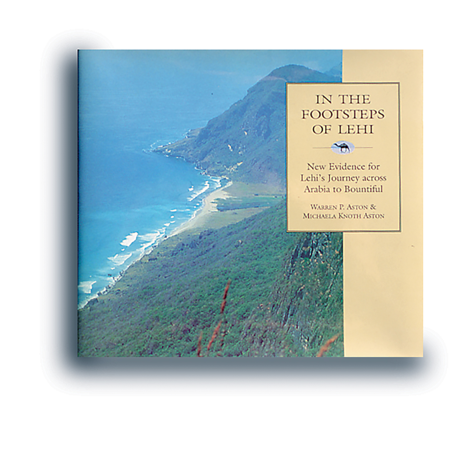 A picture of a book cover with an aerial view of mountains and an ocean.