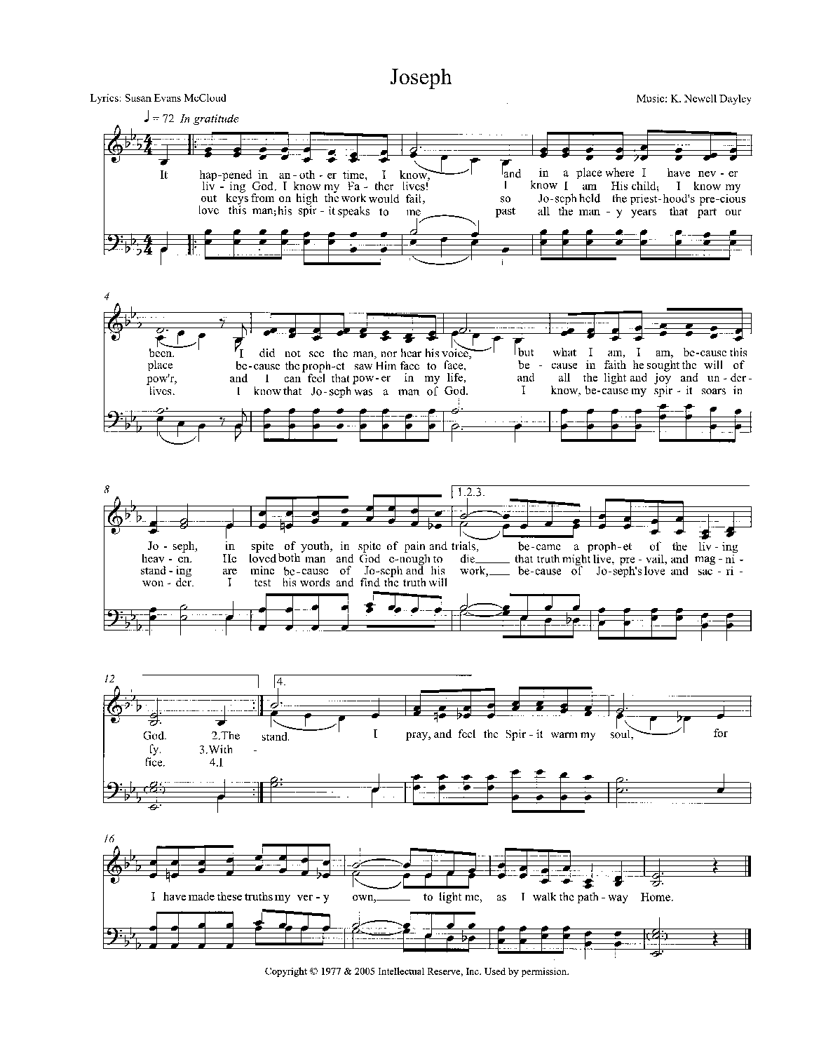 "Sheet music for a song called ""Joseph"""