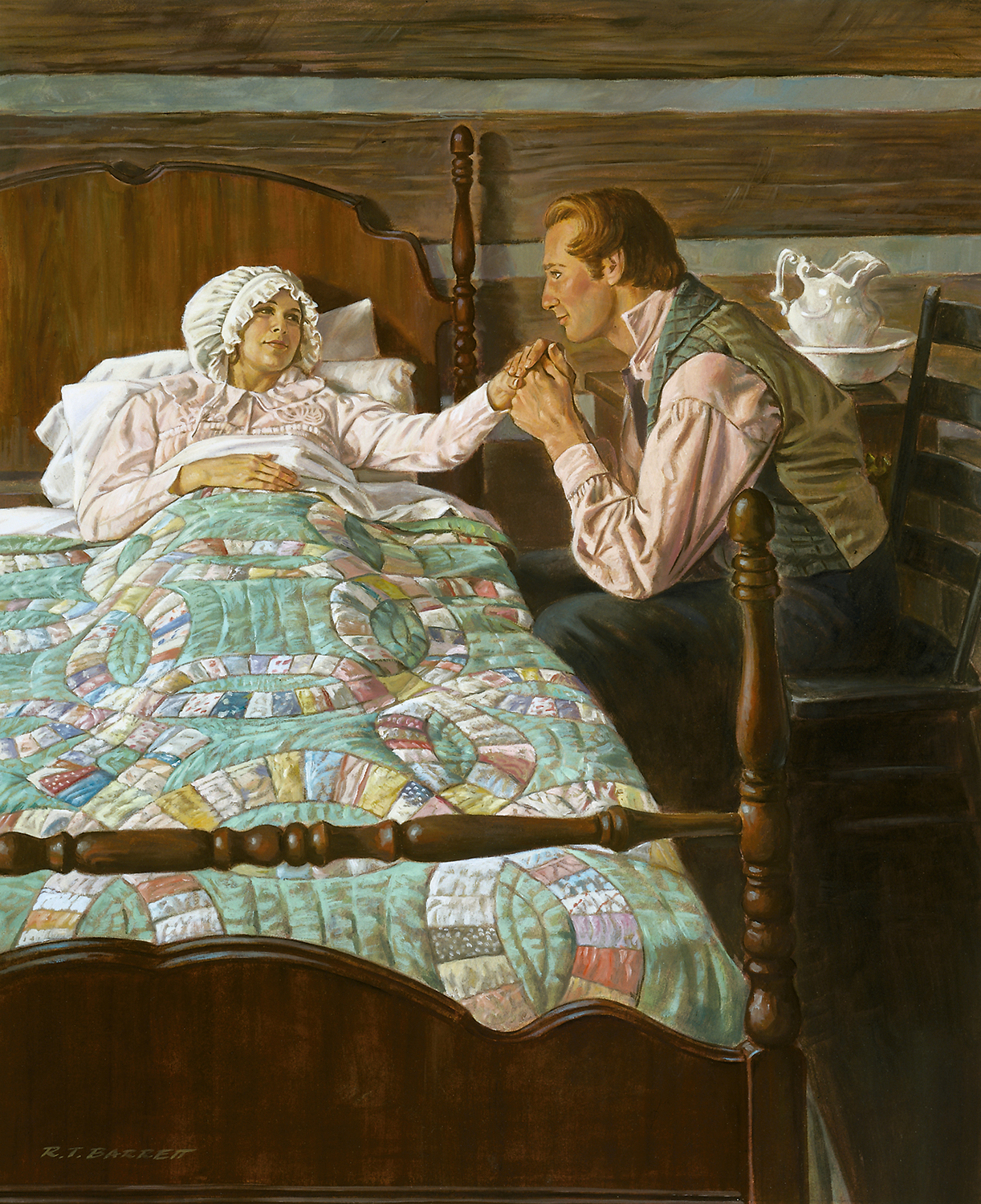 A painting of Joseph holding Emma's hand at the bedside.