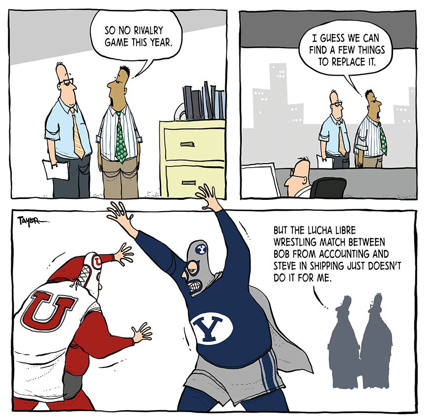 BYU-themed cartoon