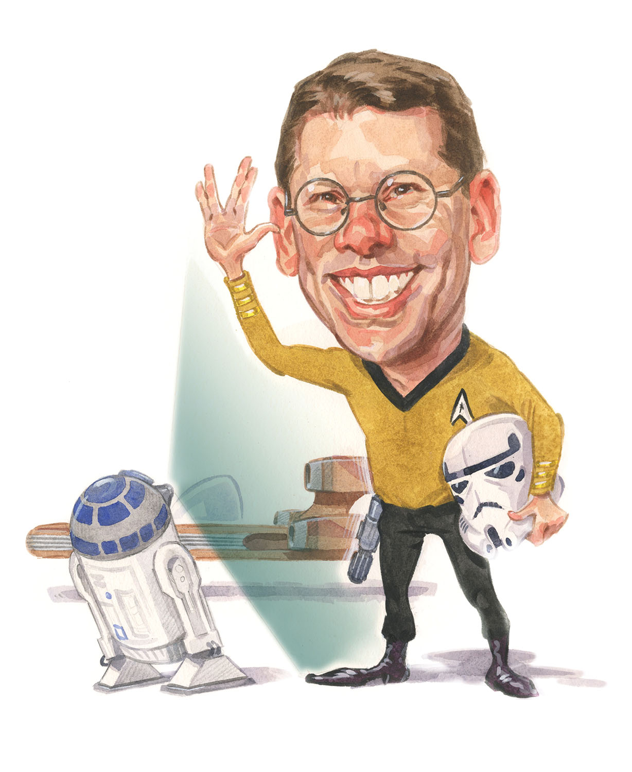Caricature of BYU professor Daniel Smalley