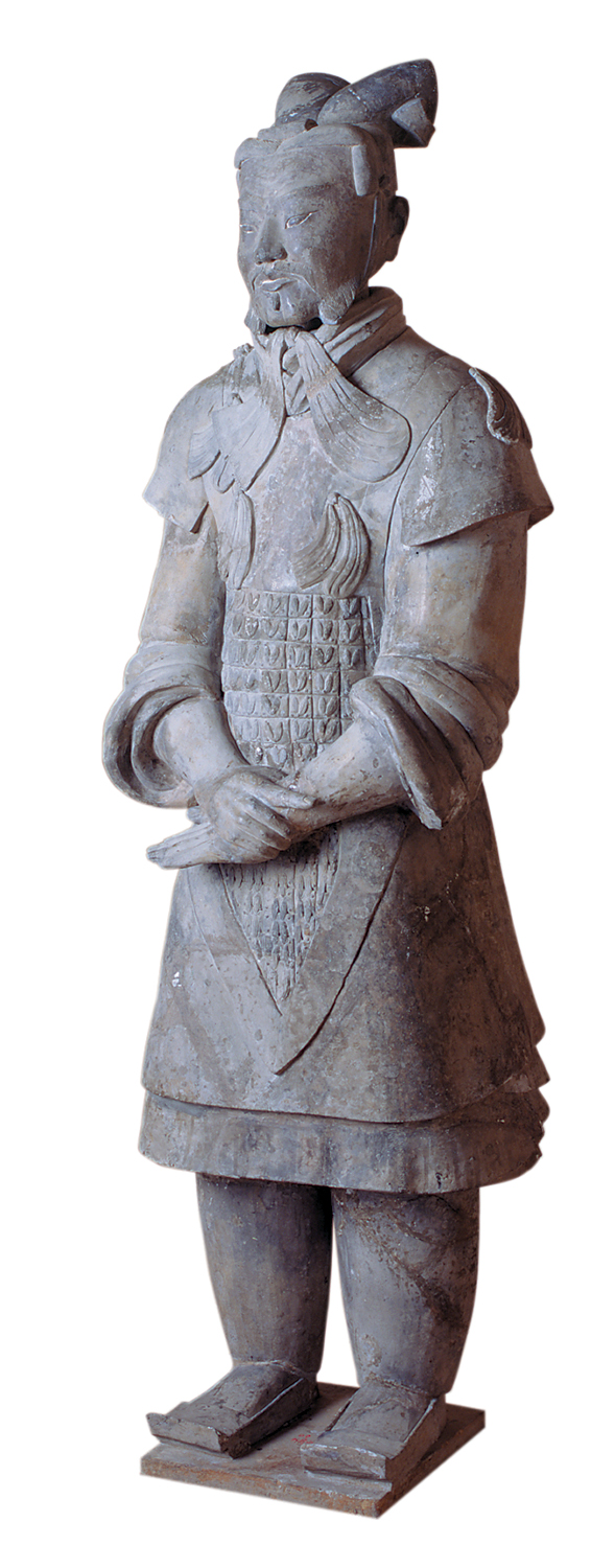 A sculpture of a terra-cotta general.