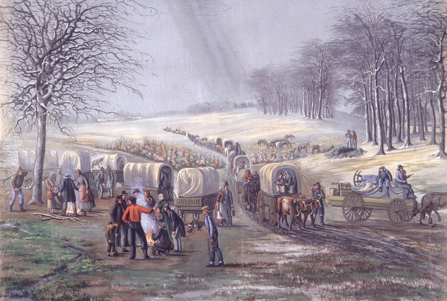 Painting of a wagon train.