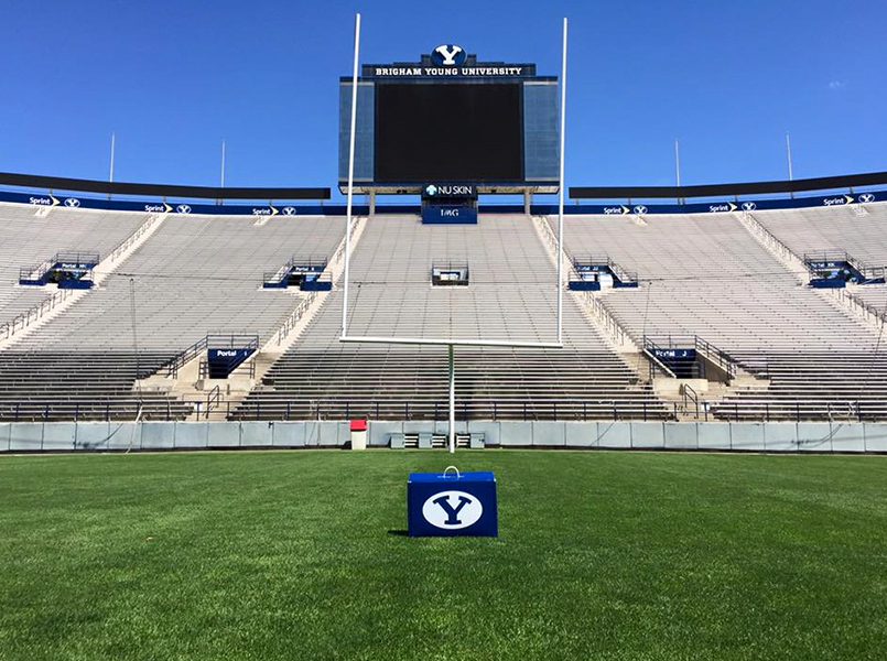 BYU50 box on the field at LaVell Edwards Stadium