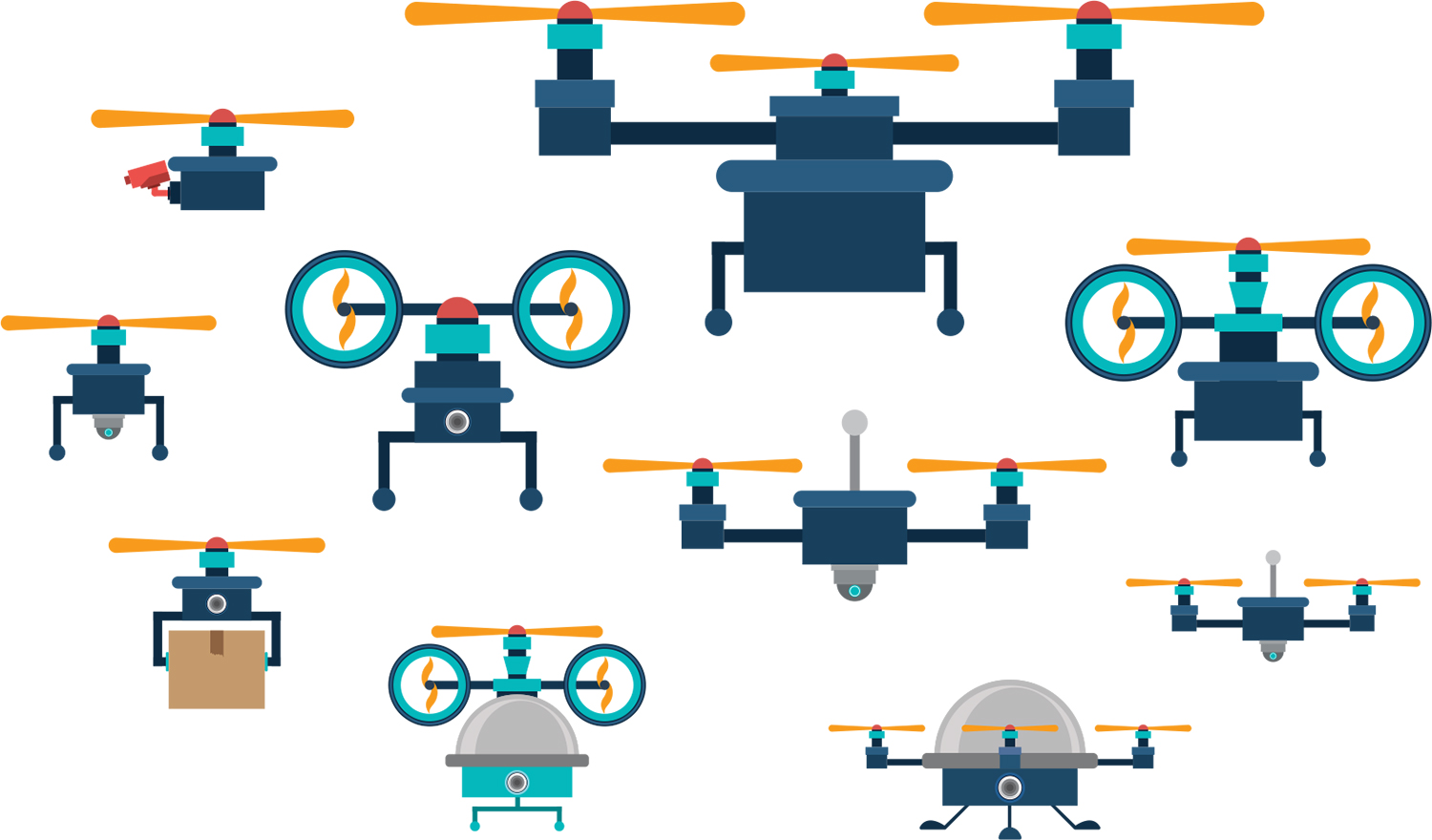 Illustrations of drones
