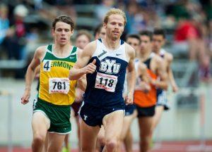 Jared Ward runs in a BYU uniform