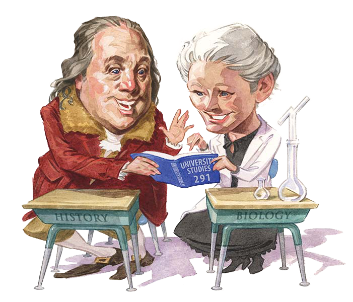 Illustration of two historical figures sitting at desks reading a book