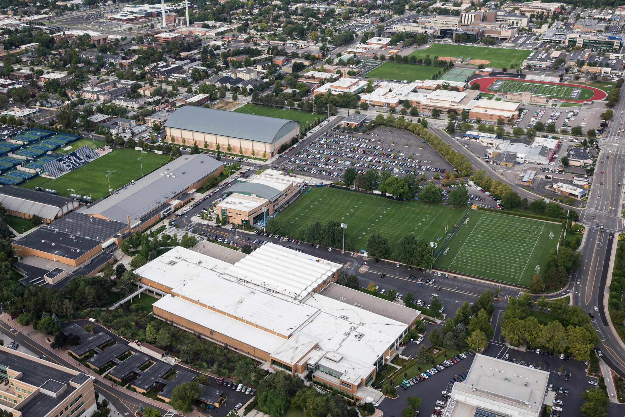 An aerial shot that captures BYU campus and the Provo High property.