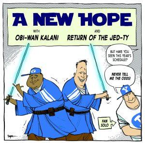 Kalani Sitake and Ty Detmer dressed like Jedis.