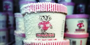 Frosted pint of Babcock Hall ice cream