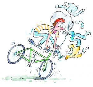 Drawing of a boy riding a bike and laundry falling around him.