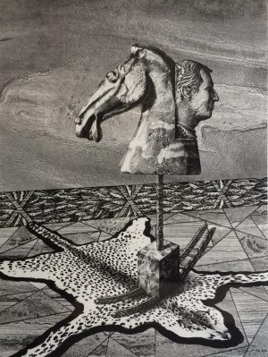 Image of a horse head and a man's head standing on a cat's skin.