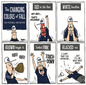 A comic on fall colors and BYU fans.
