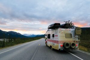 A view of the Hofman's motor home on the road in Alaska.