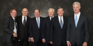Mark Philbrick poses with five of the six BYU presidents he served under