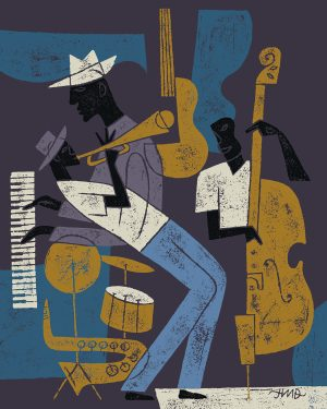 Illustration of a jazz band playing