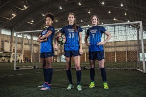 BYU women's soccer forwards Nadia Gomes, Ashley Hatch, and Michele Vasconcelos